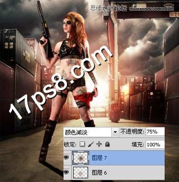 photoshop合成冷色调魔力女战士电影海报