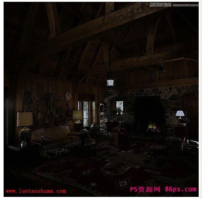 用ps将白昼室内图片打造成夜晚灯光效果; ps场景变夜晚灯光效果(2)