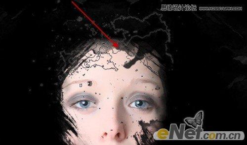 photoshop合成红色颓废效果的美女头像(2)