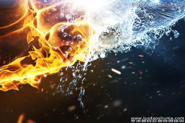 photoshop合成火焰和水花对撞的人体拳头