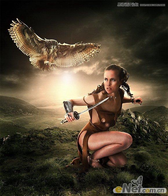 Photoshop合成战士上拿刀的摩托美女草地叫名字美女什么骑图片
