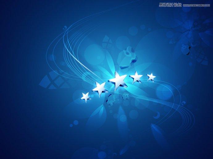 photoshop设计蓝色梦幻效果的桌面壁纸(2)