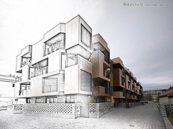 楼房照片手绘素描效果调色动作