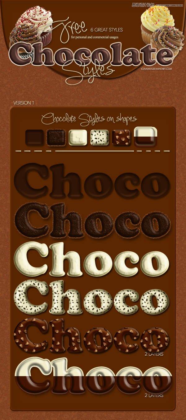 可爱的巧克力效果字体样式