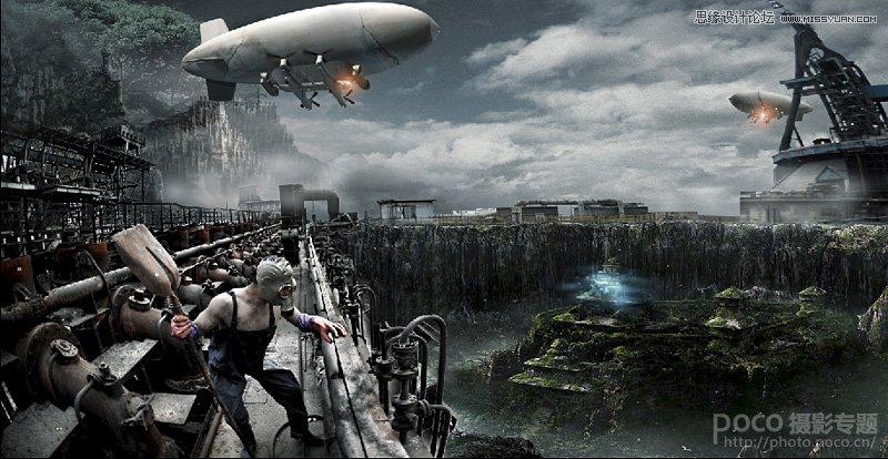 photoshop合成末日科幻世界海报场景
