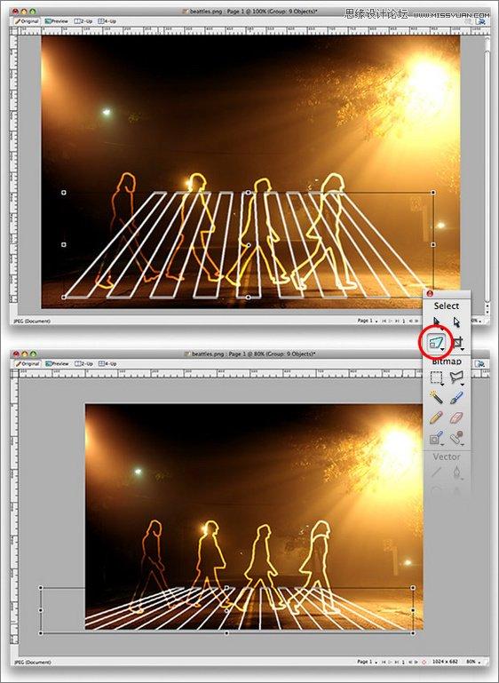 Fireworks打造詭異人物輪廓光學塗鴉效果
