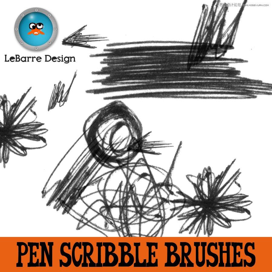 铅笔画装饰效果笔刷,ps笔刷