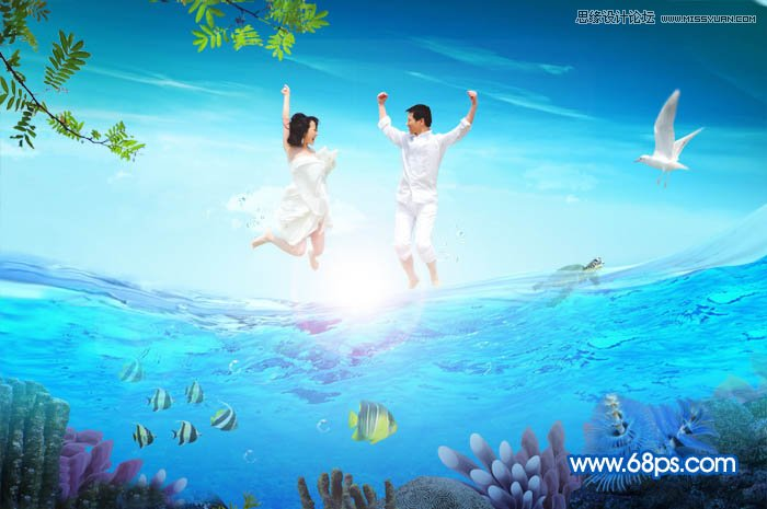 photoshop合成夏季海边跳跃的婚纱摄影照片分享