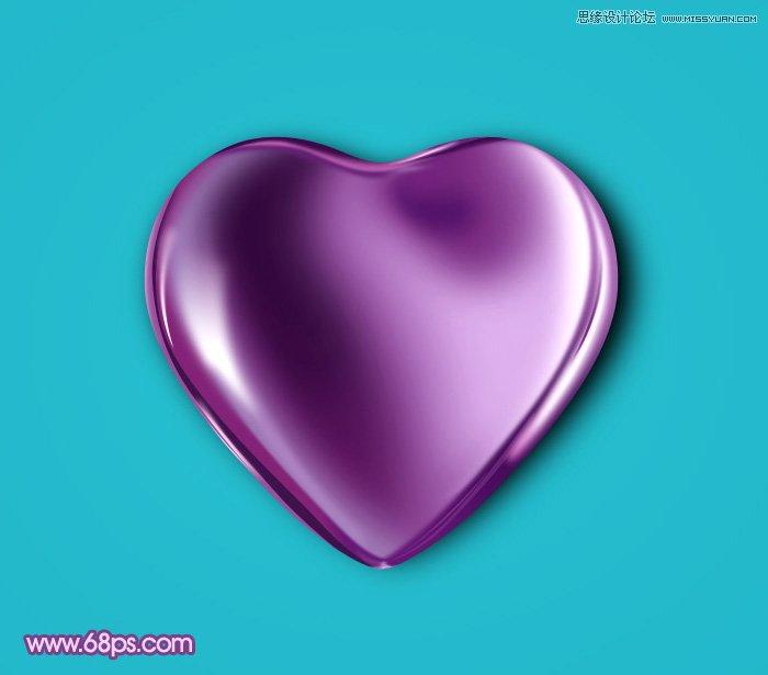 photoshop设计立体效果的紫色心形宝石