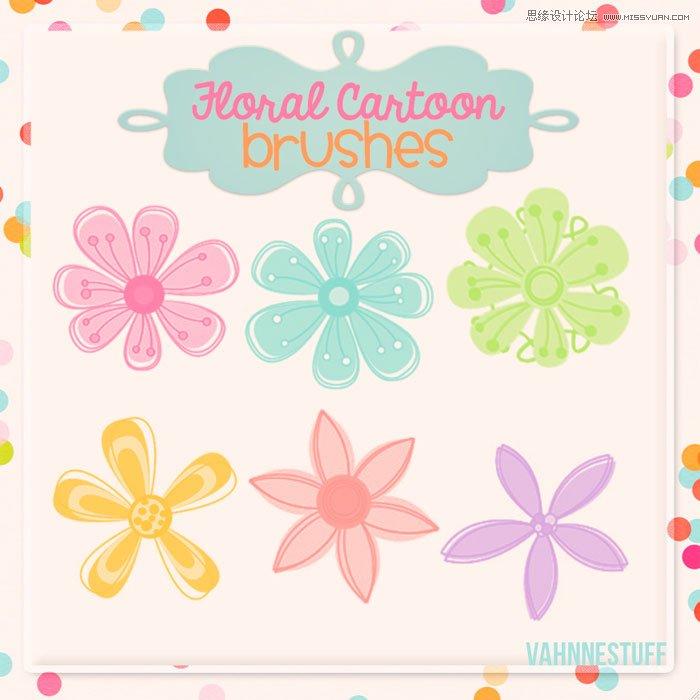 可爱的彩色花朵效果笔刷