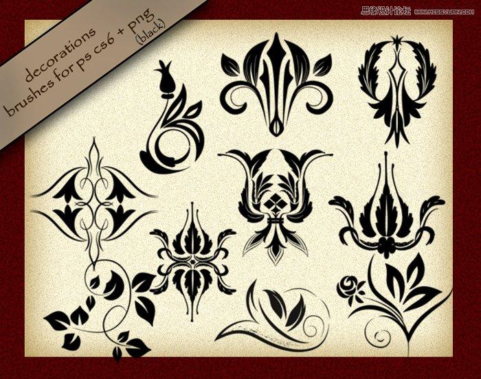 超美的欧式花纹和花藤笔刷