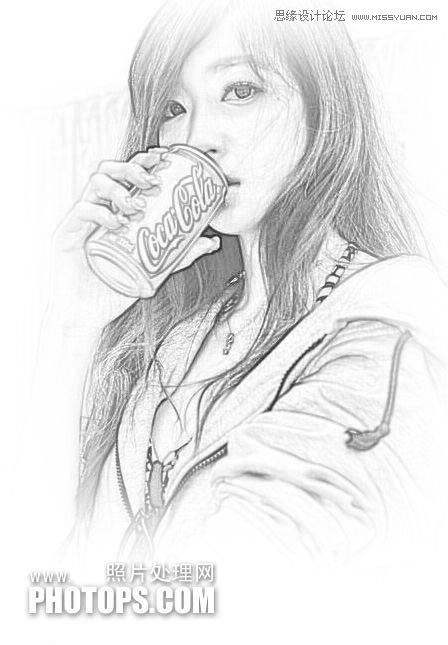 photoshop把美女照片转化成手绘素描效果(3)