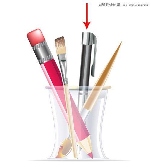 illustrator绘制立体逼真的笔筒效果图