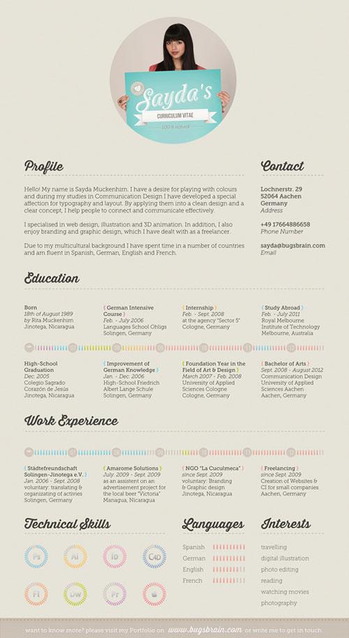 35张设计师的创意个人简历信息图设计