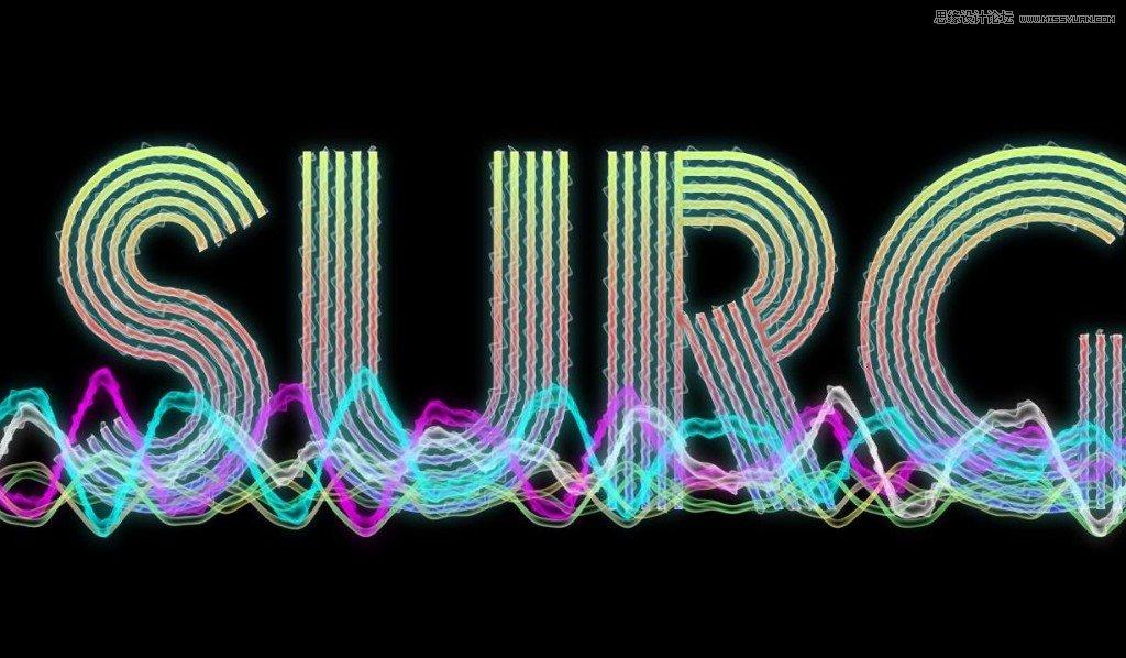 Photoshopv电波电波的绚丽超酷艺术字教程-转重复构成的平面设计图片