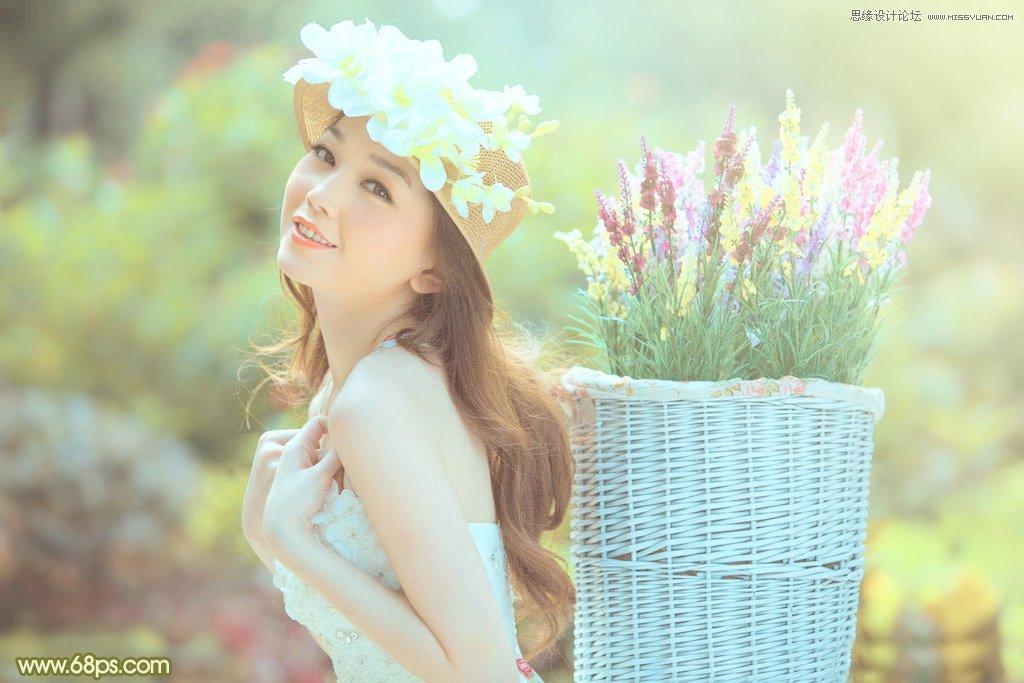 photoshop调出清纯美女清新的柔美色调
