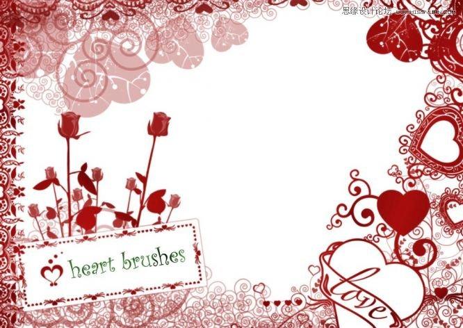 创意的心形花边装饰笔刷