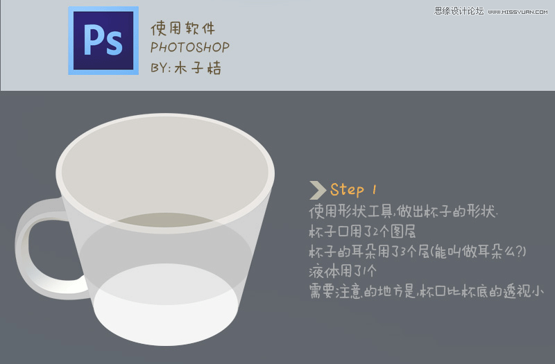 Photoshop鼠繪超萌的真實杯子教程