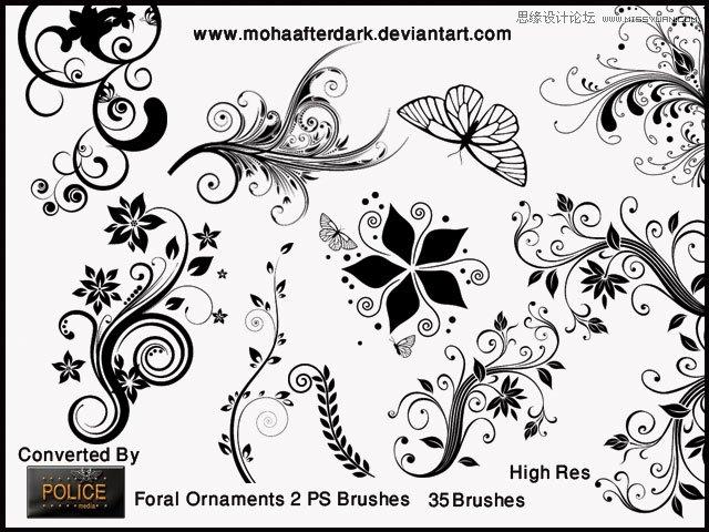 超美的花纹和花朵蝴蝶笔刷