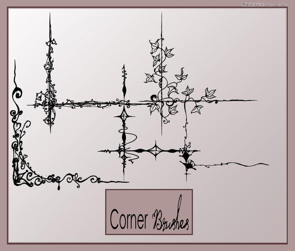 手绘的欧式花纹边角笔刷