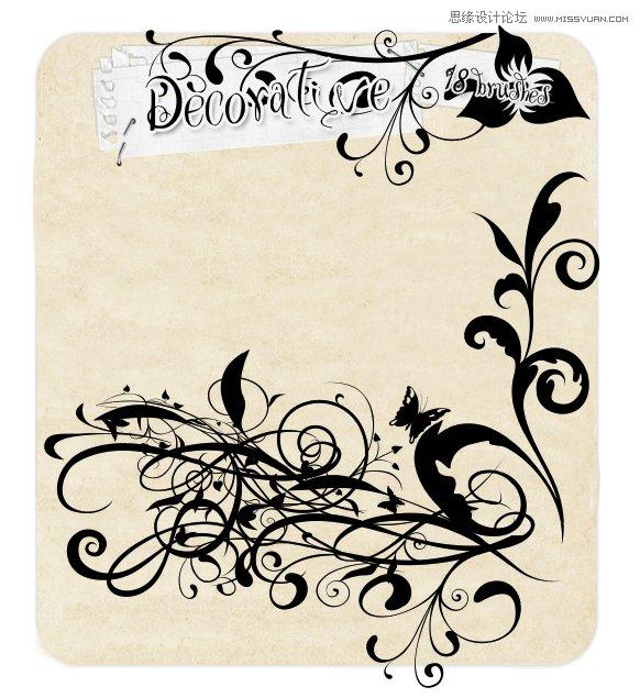 缠绕风格的花纹藤蔓笔刷