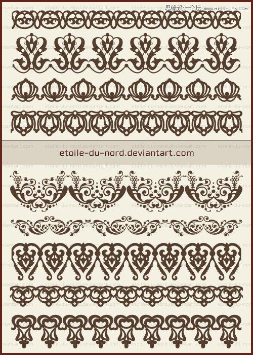 欧式复古花纹边框笔刷