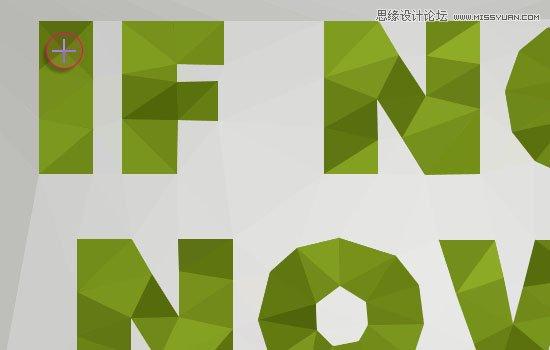 点击ON/OFF ERASER (E)按钮可删除或修改已添加的点。  选择橡皮擦工具(E)后,鼠标图形会变成圆形。这样,就可以点击任何已添加的点并删除,然后将橡皮擦工具(E)切换为关闭状态,重新添加需要的点。使用橡皮擦工具(E)切换开启/关闭模式可大大提高工作效率。  第四步 当添加完成所有的点之后,点击RESULT(R)显示效果选项。该选项将会展示基于添加的点所创建的基本多边形效果图。  现在,单击文字内部,沿着文字中心添加更多的多边形。  如果一些边缘一直移动的话,要么不要将鼠标停留在字母内部,要么在
