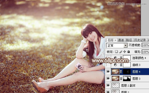 photoshop调出草地女孩温馨的暖色效果