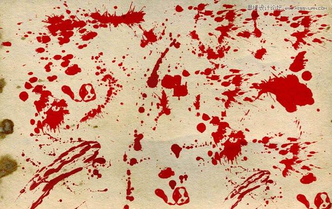 喷洒效果的血迹笔刷