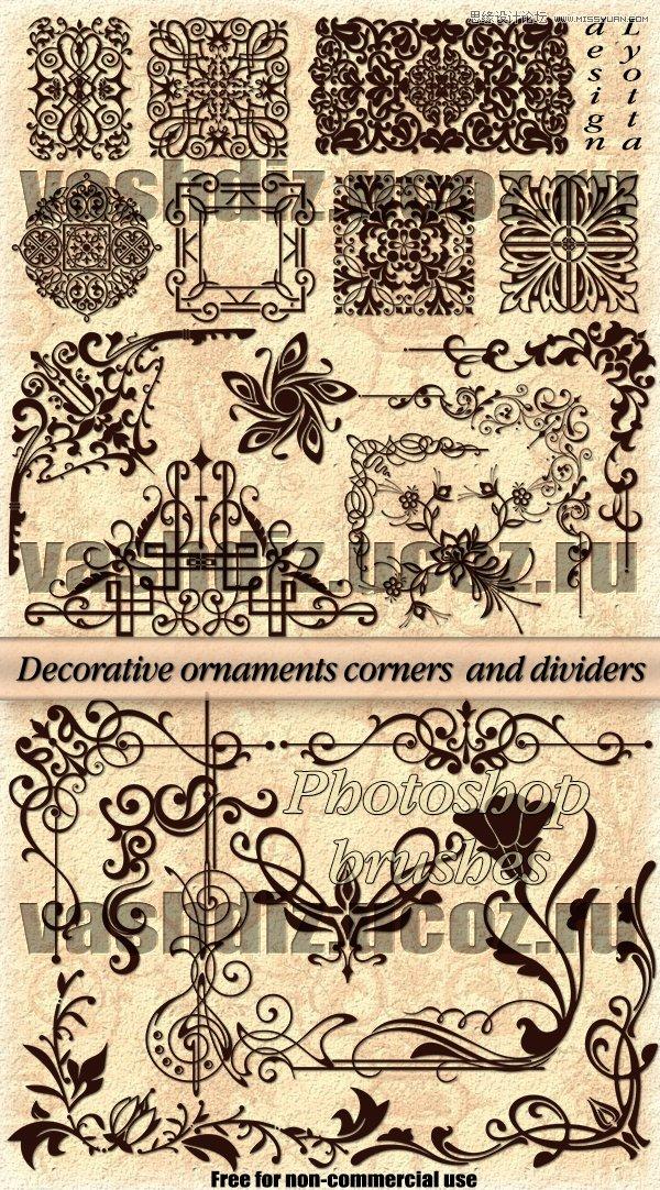 欧式立体花纹边框装饰笔刷
