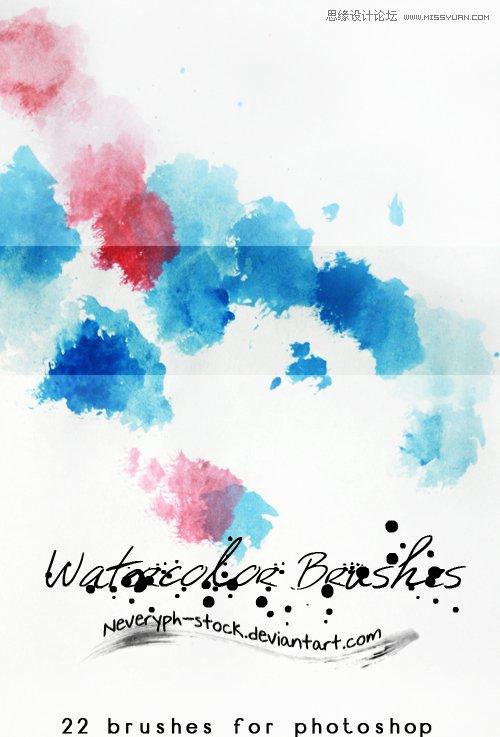 炫彩的水彩图案装饰笔刷