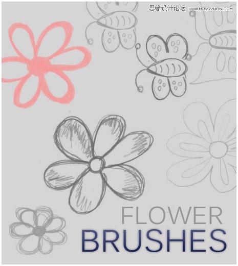 创意的手绘花纹装饰笔刷 时尚虚线线条和蝴蝶结笔刷 唯美时尚的花朵