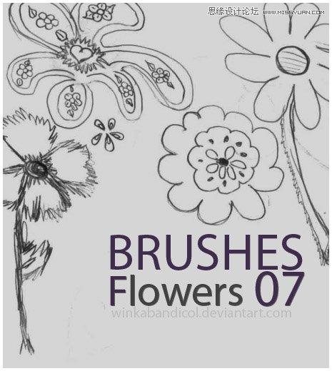 可爱的手绘花朵装饰笔刷