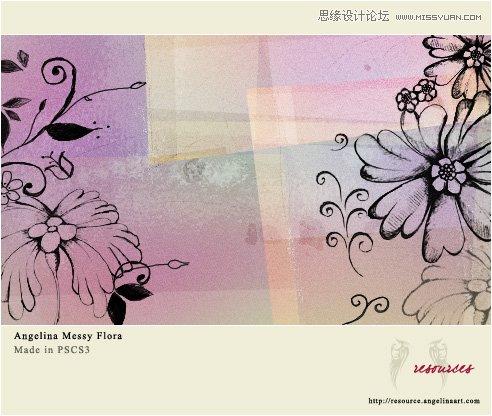秋季落叶和花纹装饰笔刷 欧式古典花纹边框装饰笔刷 可爱的手绘花朵