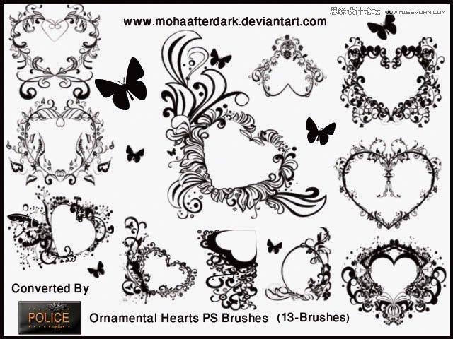 ps心形图案绘制:手绘一例漂亮的心形图案失量图,心形图案素材制作