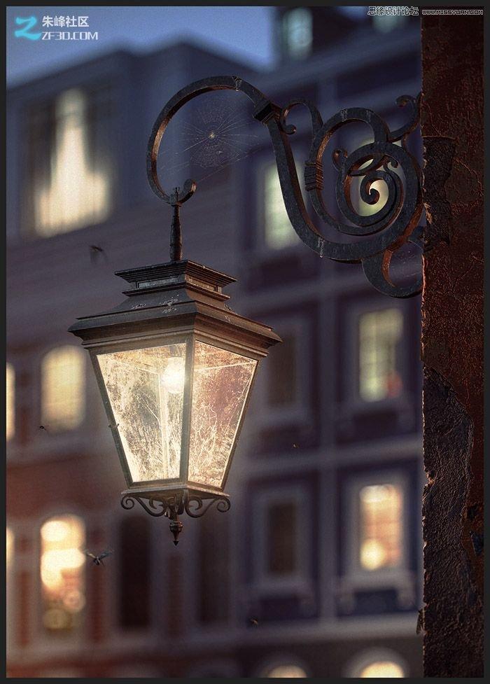 欧式风格的墙壁路灯效果