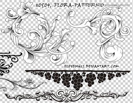 时尚立体手绘花纹装饰笔刷
