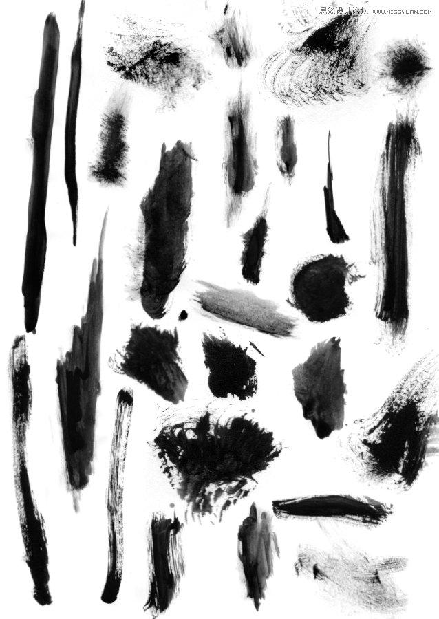 中国风水墨墨迹涂抹笔刷