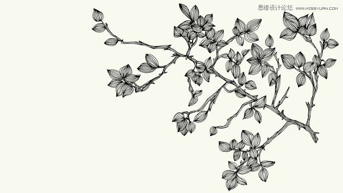 手绘线描效果花枝笔刷