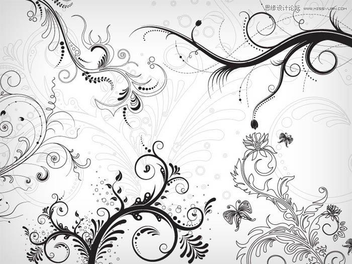 时尚可爱的小花朵笔刷 时尚潮流花纹藤蔓装饰笔刷 时尚花朵藤蔓装饰笔