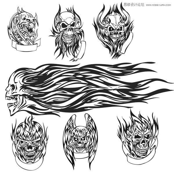 时尚纹身骷髅头图案笔刷