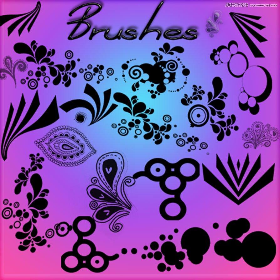 唯美的是时尚花纹藤蔓笔刷 时尚纹身花纹图案笔刷 时尚可爱的小花朵笔