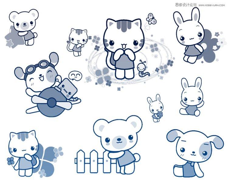 可爱的卡通小猫咪笔刷