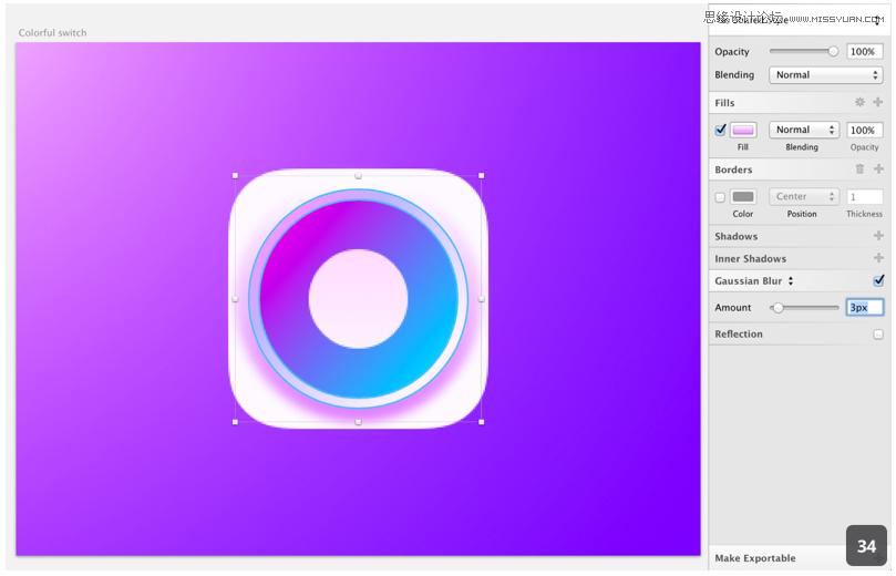 """下一步是创建一个锥形,由于Sketch没有""""斜面和浮雕""""效果,所以我们需要通过线性渐变来创建出这个三维效果。 在椭圆图层""""Super colorful base""""的下方创建一个144 x 144大小的椭圆,取消边框并给它添加一个垂直的线性渐变顶部色值是#FFFFFF底部色值是#DF80FF(效果如图33)。  下一步是创建一个模糊使它有一个适当的平滑效果。注意右侧检查器中的""""Gaussian Blur""""。检查它的复选框并设置的数值3("""