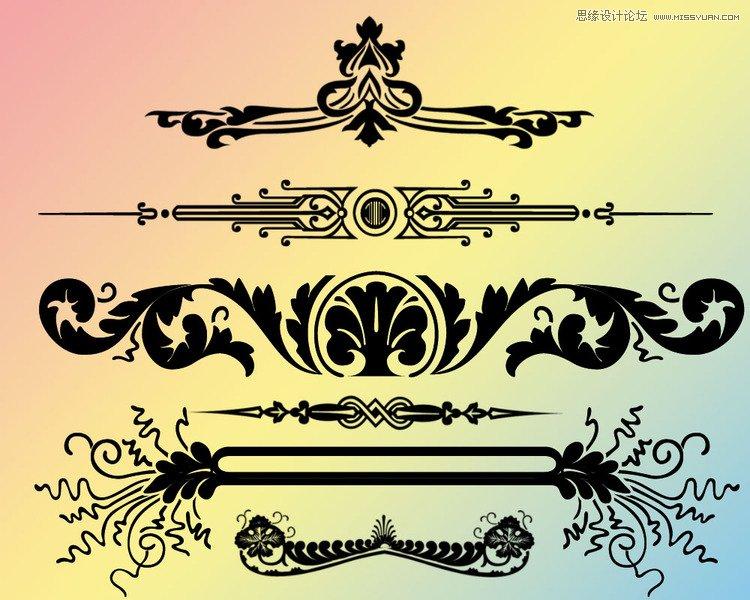 唯美的手绘边框边角笔刷 时尚花朵和花藤装饰笔刷 时尚唯美花纹藤蔓