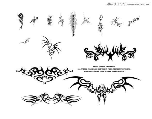 唯美的手绘边框边角笔刷 时尚的蝴蝶和龙纹纹身花纹笔刷 时尚纹身骷髅