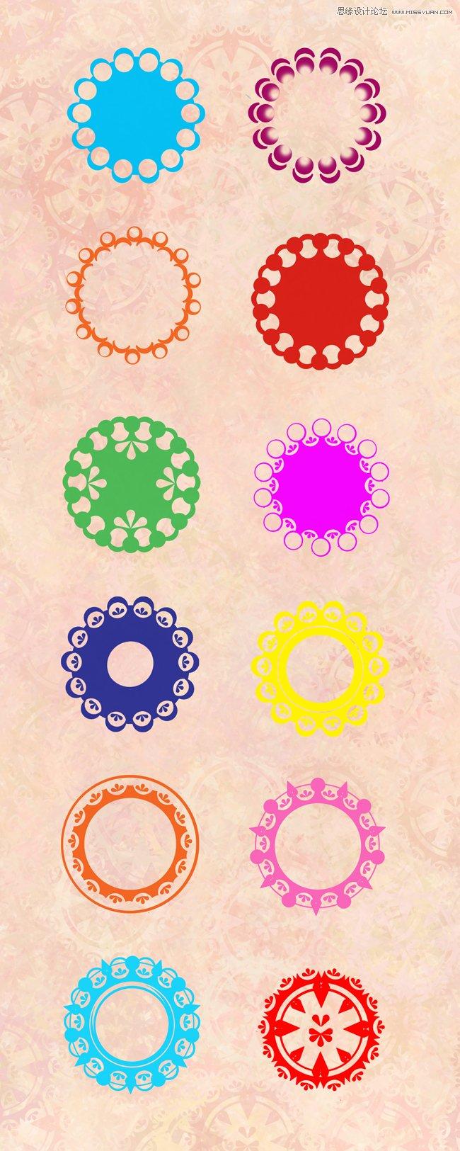 时尚唯美欧式花纹笔刷 时尚唯美的圆形花纹笔刷 时尚十字架花纹装饰
