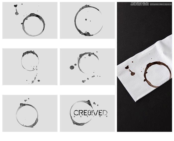 时尚的圆形花纹装饰笔刷 颓废的圆形咖啡杯污渍笔刷 时尚的圆形泡泡