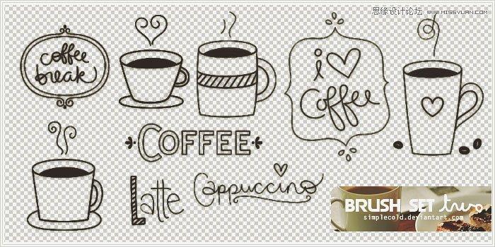 手绘可爱的咖啡杯设计笔刷