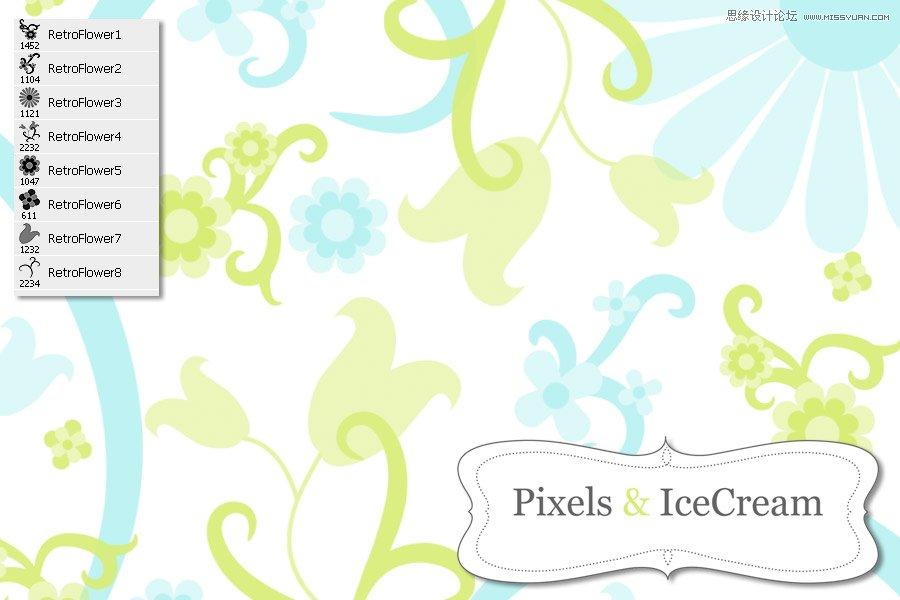 可爱的像素小花朵笔刷 时尚潮流花朵藤蔓装饰笔刷 时尚可爱的小花朵